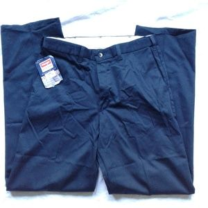 Wrangler Chinos Pants Black Flat Front Perfect Fit